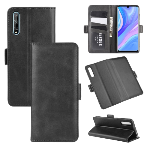 For Huawei Y8p/Enjoy 10s   Dual-side Magnetic Buckle Horizontal Flip Leather Case with Holder & Card Slots & Wallet(Black)
