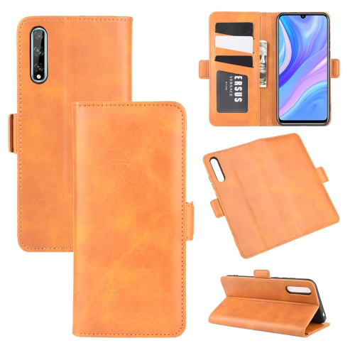 For Huawei Y8p/Enjoy 10s   Dual-side Magnetic Buckle Horizontal Flip Leather Case with Holder & Card Slots & Wallet(Yellow)