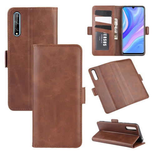 For Huawei Y8p/Enjoy 10s   Dual-side Magnetic Buckle Horizontal Flip Leather Case with Holder & Card Slots & Wallet(Brown)