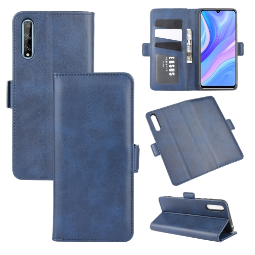 For Huawei Y8p/Enjoy 10s   Dual-side Magnetic Buckle Horizontal Flip Leather Case with Holder & Card Slots & Wallet(Dark Blue)