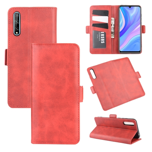 For Huawei Y8p/Enjoy 10s   Dual-side Magnetic Buckle Horizontal Flip Leather Case with Holder & Card Slots & Wallet(Red)