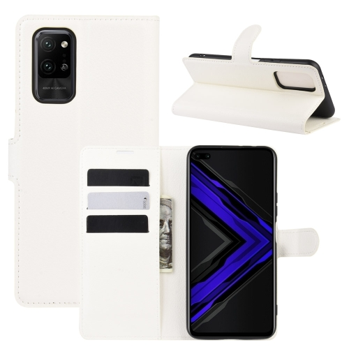 For Honor Play4 Pro/Honor V30   Litchi Texture Horizontal Flip Leather Case with Holder & Card Slots & Wallet(White)