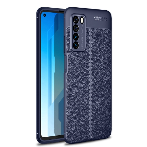 For Honor Play 4   Litchi Texture TPU Shockproof Case(Navy Blue)