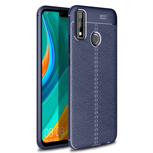 For Huawei Y8s   Litchi Texture TPU Shockproof Case(Navy Blue)