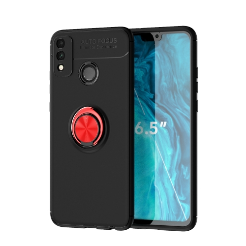 For Honor 9X Lite / Honor 8X   Metal Ring Holder 360 Degree Rotating TPU Case(Black+Red)