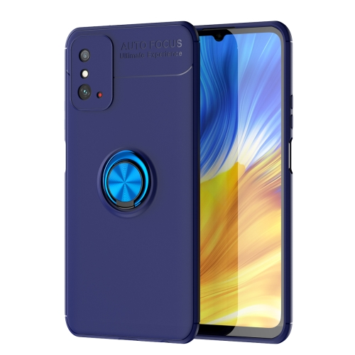 For Honor X10 Max   Metal Ring Holder 360 Degree Rotating TPU Case(Blue+Blue)
