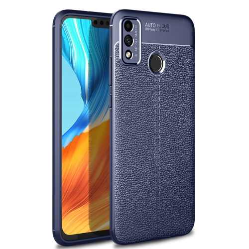 For Honor 9X Lite / Honor 8X   Litchi Texture TPU Shockproof Case(Navy Blue)