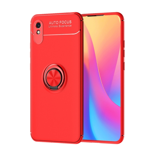 For Xiaomi Redmi 9A   Metal Ring Holder 360 Degree Rotating TPU Case(Red+Red)