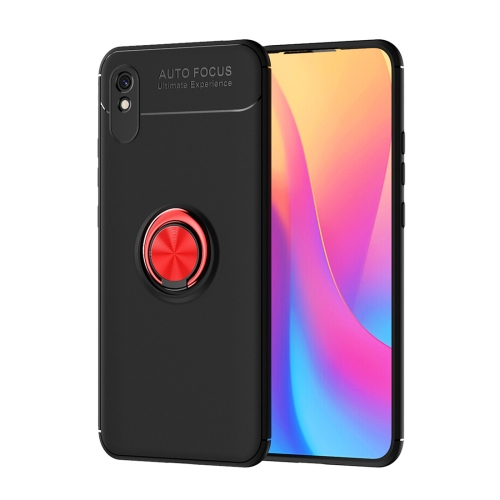 For Xiaomi Redmi 9A   Metal Ring Holder 360 Degree Rotating TPU Case(Black+Red)