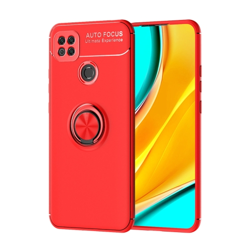 For Xiaomi Redmi 9C   Metal Ring Holder 360 Degree Rotating TPU Case(Red+Red)