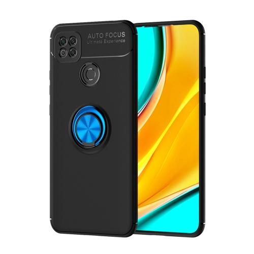 For Xiaomi Redmi 9C   Metal Ring Holder 360 Degree Rotating TPU Case(Black+Blue)