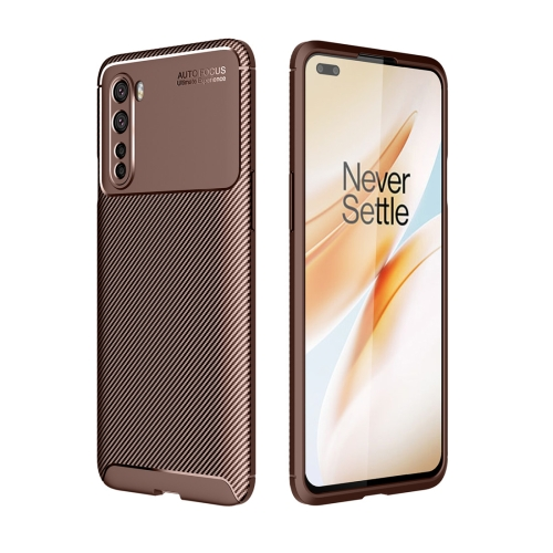 For OnePlus Nord - Carbon Fiber Texture Shockproof TPU Case(Brown)