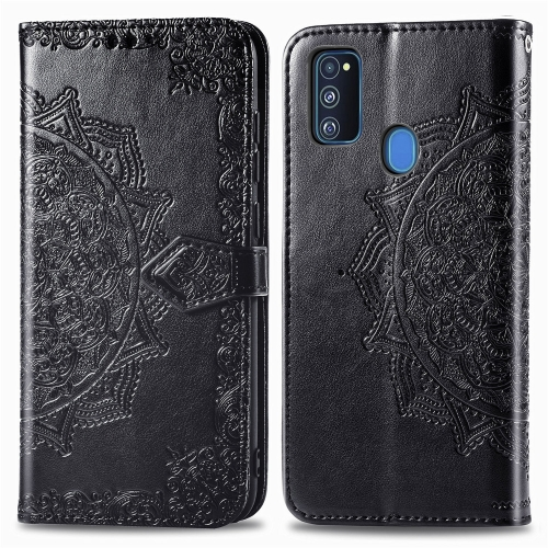sunsky-online.com - 15% OFF by SUNSKY COUPON CODE: SYA001287003 for For Galaxy M30S/M21 Mandala Flower Embossed Horizontal Flip Leather Case with Bracket / Card Slot / Wallet / Lanyard(Black)