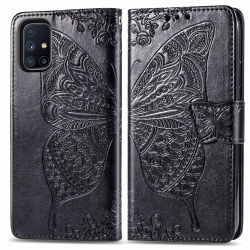 sunsky-online.com - 15% OFF by SUNSKY COUPON CODE: SYA001287501 for For Galaxy M51 Butterfly Love Flower Embossed Horizontal Flip Leather Case with Bracket / Card Slot / Wallet / Lanyard(Black)