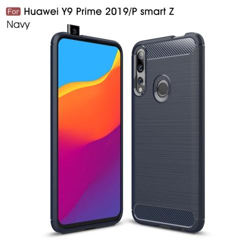 Brushed Texture Carbon Fiber TPU Case for Huawei Y9 Prime 2019 / P Smart Z(Navy Blue)