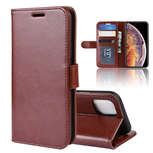 R64 Texture Single Fold Horizontal Flip Leather Case for iPhone 11 Pro Max, with Holder & Card Slots & Wallet(Brown)