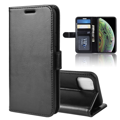 R64 Texture Single Fold Horizontal Flip Leather Case for iPhone 11 Pro, with Holder & Card Slots & Wallet(Black)