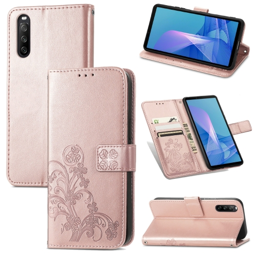 For Sony Xperia 10 III Four-leaf Clasp Embossed Buckle Mobile Phone Protection Leather Case with Lanyard & Card Slot & Wallet & Bracket Function(Rose Gold)