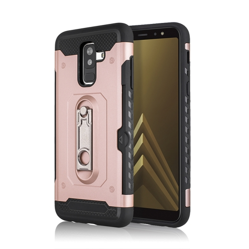 Shockproof PC + TPU Case for Galaxy A6+ (2018), with Holder(Rosegold)