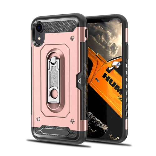 Shockproof PC + TPU Case for iPhone XR, with Holder(Rosegold)