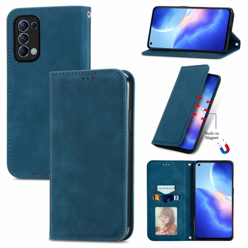 For OPPO Reno 5 5G /Find X3 Lite Retro Skin Feel Business Magnetic Horizontal Flip Leather Case With Holder & Card Slots & Wallet & Photo Frame(Blue)