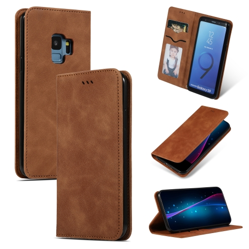 Retro Skin Feel Business Magnetic Horizontal Flip Leather Case for Samsung Galaxy S9(Brown)