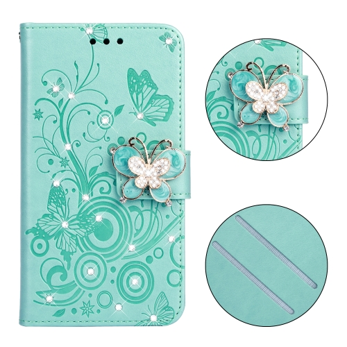 Diamond Encrusted Butterflies Love Flowers Pattern Horizontal Flip Leather Case for Galaxy S8 , with Holder & Card Slots & Wallet & Lanyard(Butterfly green)