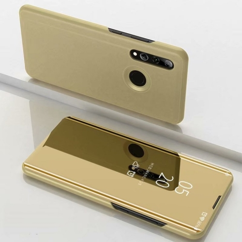 Electroplating Mirror Horizontal Flip Leather Case for Huawei P Smrt Z with Holder(Gold)