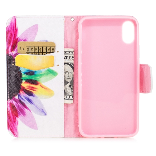 Colored Drawing Pattern Horizontal Flip Leather Case for Samsung GalaxyS8,with Holder & Card Slots & Wallet(Sunflower)