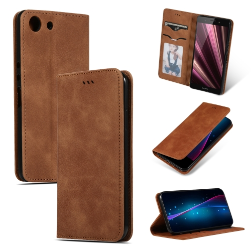 Retro Skin Feel Business Magnetic Horizontal Flip Leather Case for Sony Xperia XZ4 Compact(Brown)
