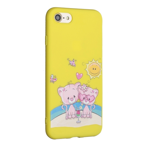 Frosted Pattern TPU Protective Case for iPhone 7 / 8(Lovers Bear)