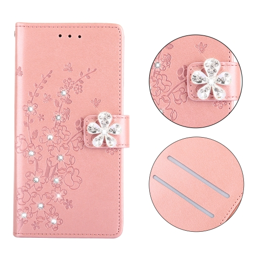 Plum Blossom Pattern Diamond Encrusted Leather Case for Galaxy A6 ,with Holder & Card Slots(Plum Rose Gold)