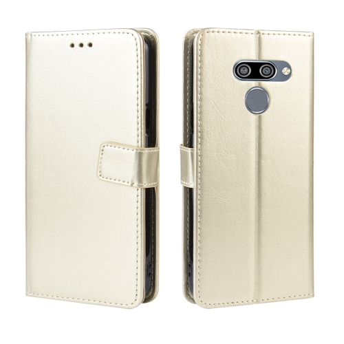 Retro Crazy Horse Texture Horizontal Flip Leather Case for LG K50 /LG Q60, with Holder & Card Slots & Photo Frame(Gold)