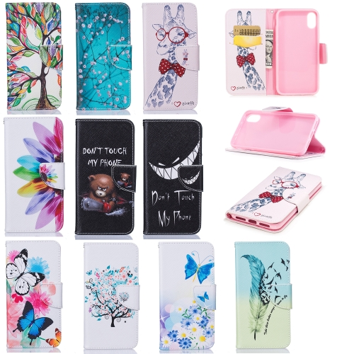 Colored Drawing Pattern Horizontal Flip Leather Case for iPhone X&Xs,with Holder & Card Slots & Wallet(Sunflower)