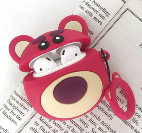 Red Bear Protective Case Bluetooth Earphone Storage Box Silicone Ring Rope Anti-drop Bag for Apple AirPods 1/2