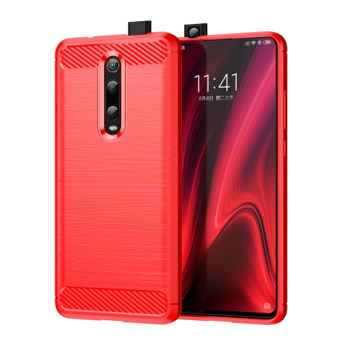 Brushed Texture Carbon Fiber TPU Case for Xiamo Redmi K20 / K20 Pro(Red)