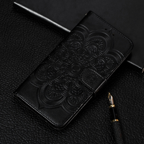 Mandala Embossing Pattern Horizontal Flip Leather Case for Huawei Nova 4, with Holder & Card Slots & Wallet & Photo Frame(Black)