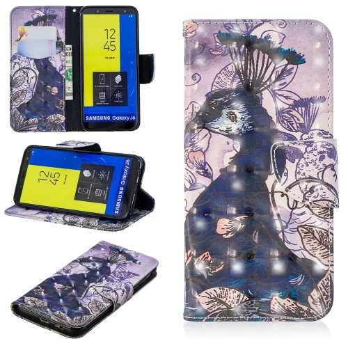 3D Colored Drawing Pattern Horizontal Flip Leather Case for Galaxy J6, with Holder & Card Slots & Wallet(Peacock)