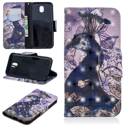 3D Colored Drawing Pattern Horizontal Flip Leather Case for Galaxy J530, with Holder & Card Slots & Wallet(Peacock)