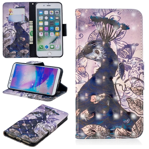 3D Colored Drawing Pattern Horizontal Flip Leather Case for iPhone 7 Plus & 8 Plus, with Holder & Card Slots & Wallet(Peacock)