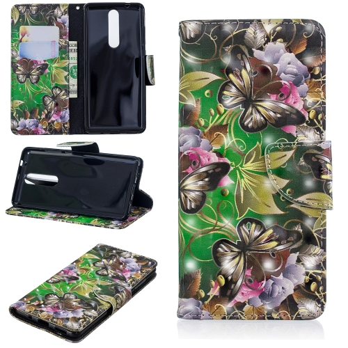 3D Colored Drawing Pattern Horizontal Flip Leather Case for Nokia 5.1, with Holder & Card Slots & Wallet(Green Butterfly)