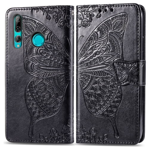 Butterfly Love Flowers Embossing Horizontal Flip Leather Case for Huawei Y9 Prime (2019), with Holder & Card Slots & Wallet & Lanyard(Black)