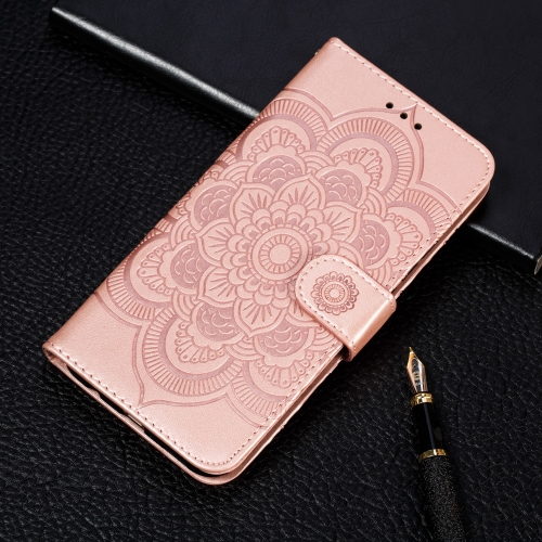 Mandala Embossing Pattern Horizontal Flip Leather Case for Samsung Galaxy S10 5G, with Holder & Card Slots & Wallet & Photo Frame & Lanyard(Rose Gold)