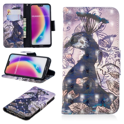 3D Colored Drawing Pattern Horizontal Flip Leather Case for Huawei P20 Lite, with Holder & Card Slots & Wallet(Peacock)
