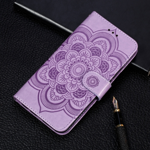 Mandala Embossing Pattern Horizontal Flip Leather Case for Samsung Galaxy A40, with Holder & Card Slots & Wallet & Photo Frame & Lanyard(Purple)
