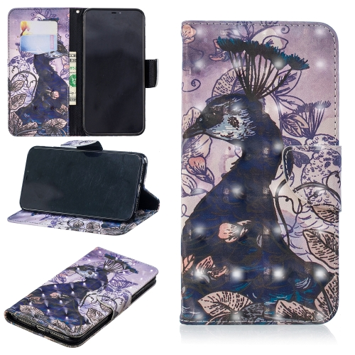 3D Colored Drawing Pattern Horizontal Flip Leather Case for Huawei P Smart (2019), with Holder & Card Slots & Wallet(Peacock)