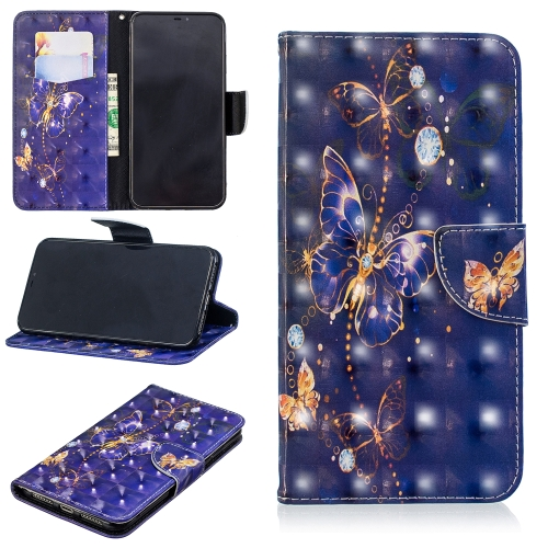 3D Colored Drawing Pattern Horizontal Flip Leather Case for Huawei Y5 / Y5 Prime, with Holder & Card Slots & Wallet(Purple Butterfly)