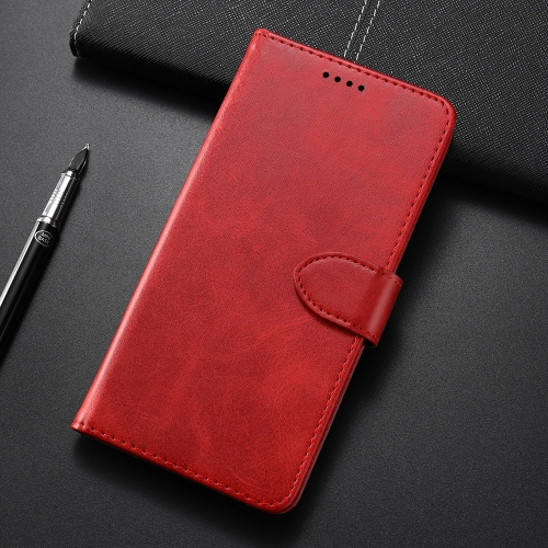 Calf Texture Horizontal Flip Leather Case for Motorola One Power/P30 Note, with Holder & Card Slots & Wallet(Red)