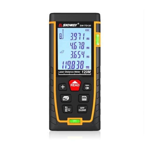 SNDWAY Double Horizontal bubble Rangefinder Laser Distance Meter Range Hand Tool Device SW-TG120