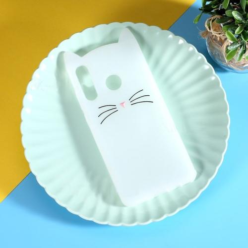 Lovely 3D Moustache Cat Soft Silicone Back Case for Huawei P30 Lite & Nova 4e(White)